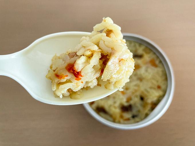サンヨーの缶飯 チキンドライカレー ご飯のアップ