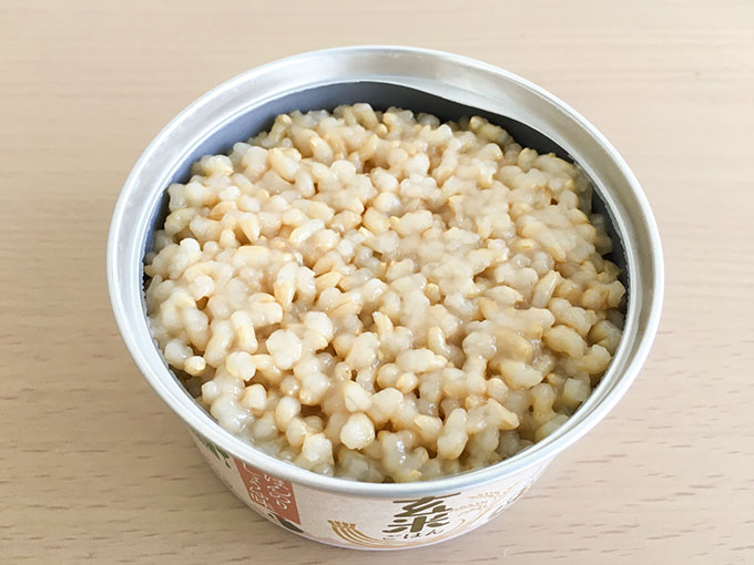 玄米ごはん缶ほんのりしょうゆ味を開けたところ