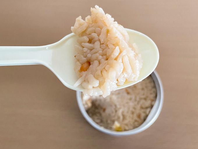 サンヨーの缶飯 とりめし ご飯のアップ