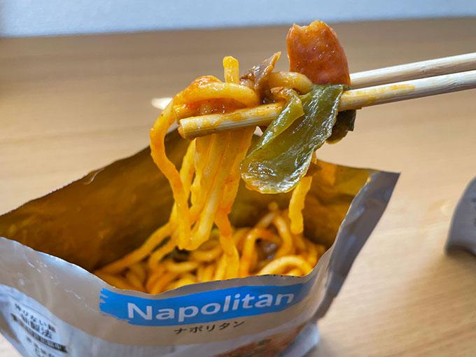 テーブルストックナポリタンの麺のアップ